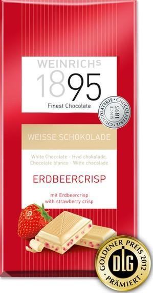 Weiße Erdbeere Crisp Schokolade 100 g Tafel